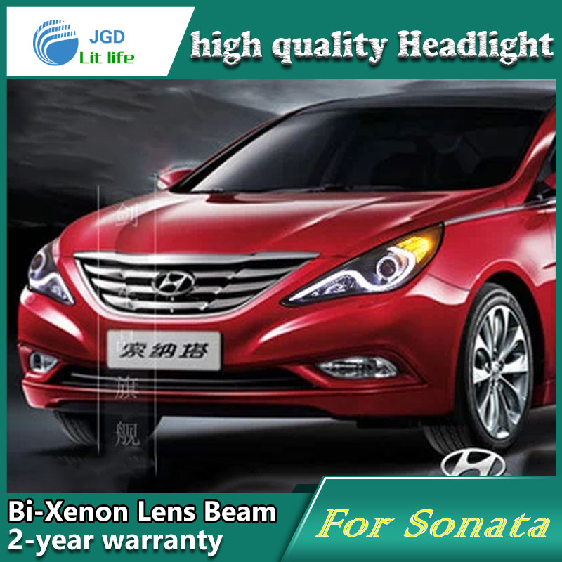 Car Styling Head Lamp case for Hyundai Sonata 2011-2012 Headlights LED Headlight DRL Lens Double Beam Bi-Xenon HID Accessories hireno headlamp for 2015 2017 hyundai ix25 crete headlight headlight assembly led drl angel lens double beam hid xenon 2pcs