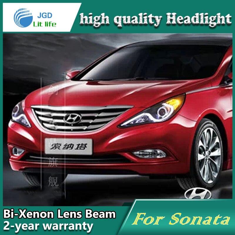 Estilo Do Carro Caso Da Lâmpada De Cabeça Para Hyundai Sonata 2011 2012  Faróis LED Farol DRL Lente Feixe Duplo Bi Xenon ESCONDEU Acessórios