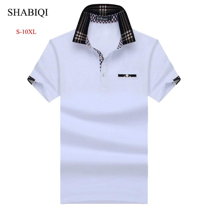 SHABIQI New Classic Mens PoloShirts short sleeve autumn Men's Shirt Brands Camisa   Polo   Masculina Plus Size 6XL 7XL 8XL 9XL 10XL