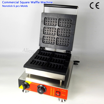 Lolly Waffle Machine Commercial Waffle Baker 6 Molds Card Shape Stainless Steel 110V 220V 1500W 506