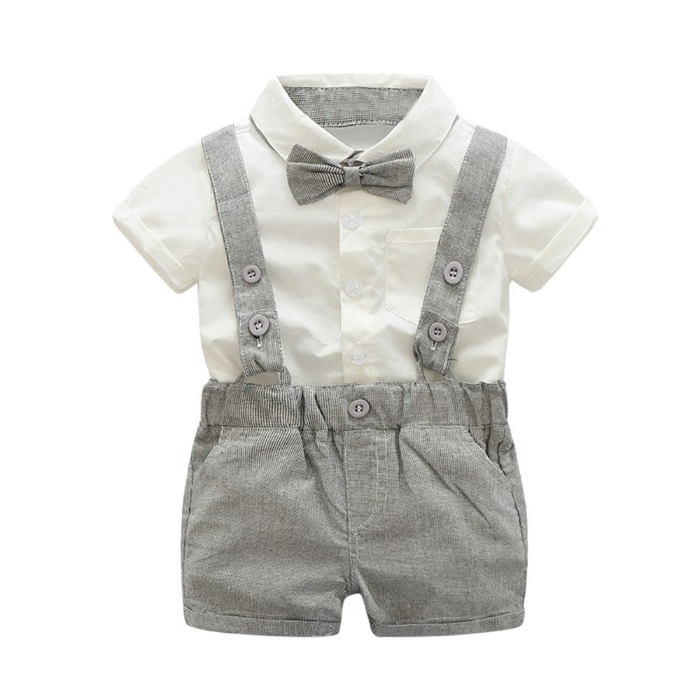 0-2yrs old Baby boys summer Formal Suit Bowtie Short Sleeve t shirt +Suspenders Shorts Set for boys sport suits baby boy outfit - intl