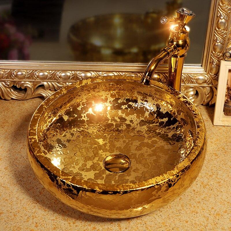 Livraison gratuite Luxe fabriqués à la main en céramique or vitrage porcelaine art salle de bains de lavage évier