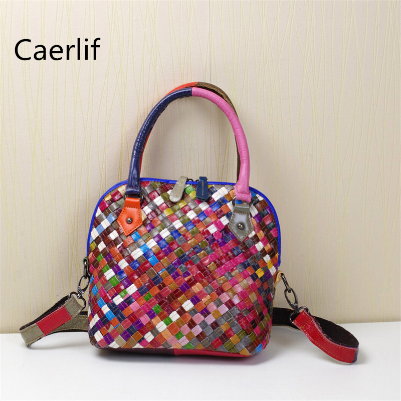 Caerlif 2018 genuine leather bag colorful stripe weave leisure national wind female bag women messenger bags shoulder bag caerlif brand genuine leather bag colorful stripe weave vintage national wind shoulder bags female bag women messenger bags