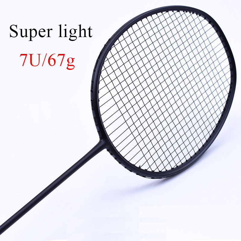 LOKI Super light 7U 67g Strung Badminton Racket Black Professional Carbon Badminton Racquet 28LBS free Grips and WristbandLOKI Super light 7U 67g Strung Badminton Racket Black Professional Carbon Badminton Racquet 28LBS free Grips and Wristband