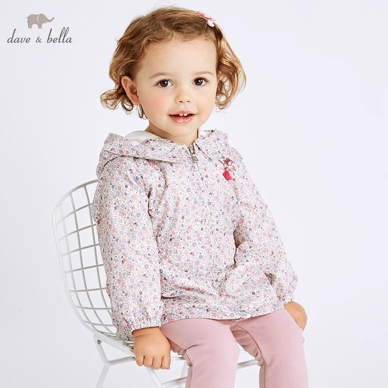 DBZ6983 dave bella spring infant baby girls hooded coat kids floral outerwear toddler children high quality