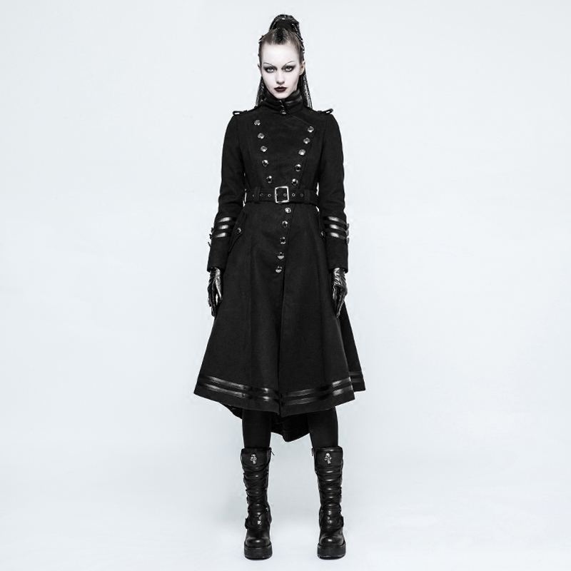 Steampunk Military Uniform Worsted Long Coat for Women Gothic Punk Handsome Black Stand Collar Bodycon Jacket Overcoats