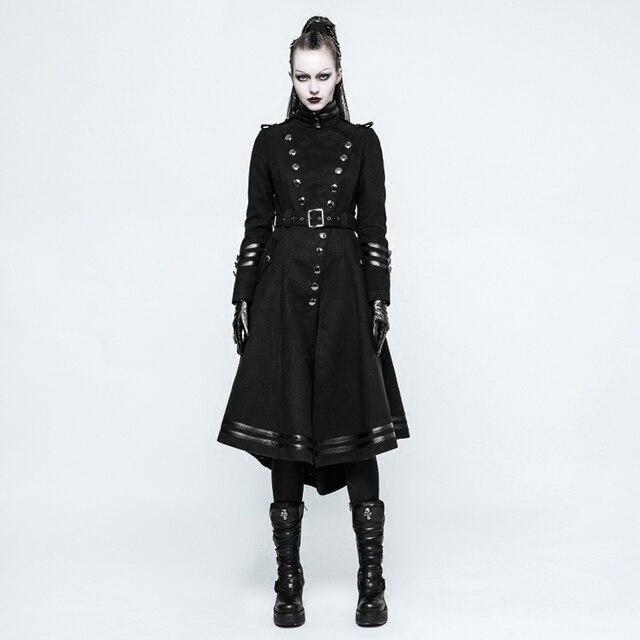b41df5294812d Steampunk uniforme militar de lana abrigo largo para las mujeres Punk  gótico guapo negro Collar ajustado