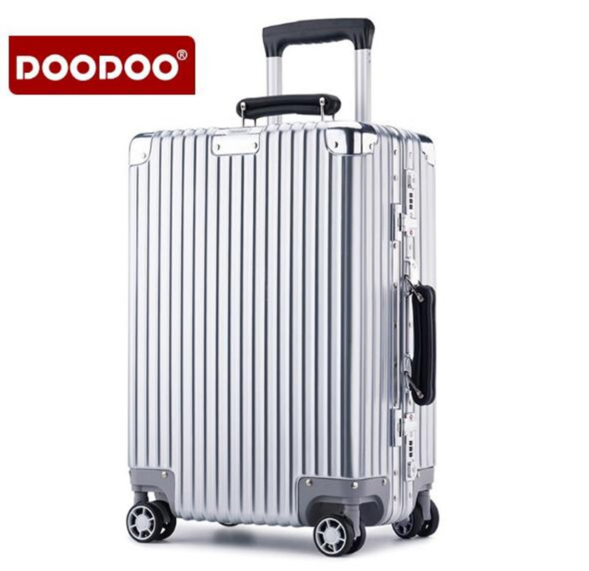 DOODOO 20 inch 24 Aluminum  Rolling Luggage Boarding Spinner Wheel Suitcase With Brake ABS Luggage XL002