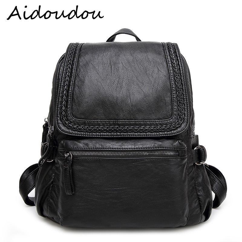 2017 High Quality Women Genuine Leather Backpack water proof School Bags For Teenagers Girls Korea style