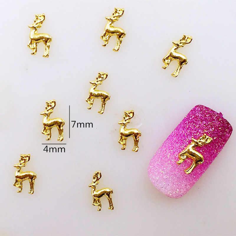 50 Buah/Bungkus Jepang Korea Alloy Nail Art 3D Emas Jerapah Logam Accessorie Koleksi untuk Fototerapi Stiker Kuku Diseduh Sendiri