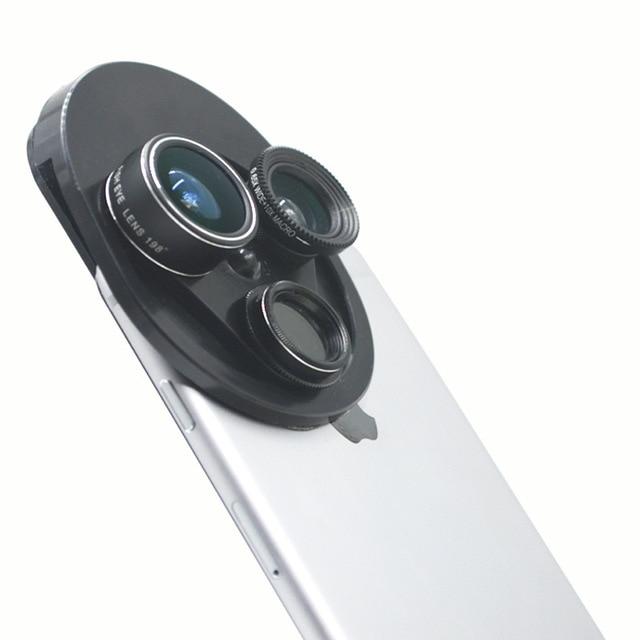 82f1f2940a53d Kit Lente Da Câmera Do Telefone celular 4 em 1 Universal Profissional  Fisheye Lente Macro +
