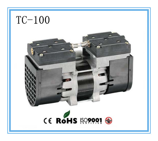 TC-100 AC110V/220V Electric mini oil - free diaphragm 100w vacuum pump Medical mute pump with 24L/min vacuum flow 220v ac 50l min 165w oil free piston vacuum pump hzw 165