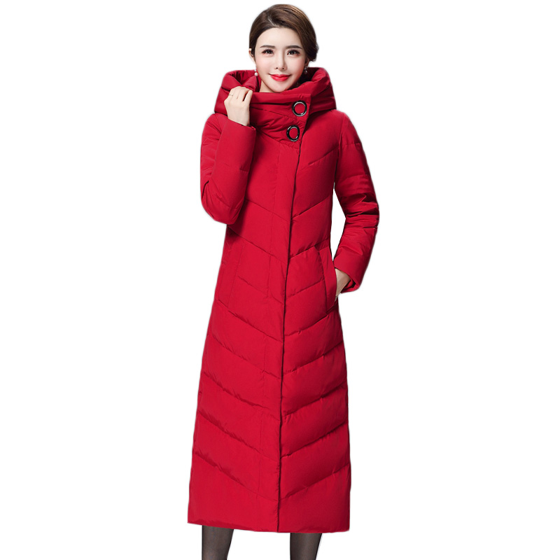 Winter Women Jacket 2018 New Fashion Long   Down   Jacket Slim Thick Warm White Duck   Down     Coats   High Quality Cotton Clothing AA460