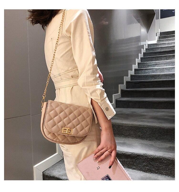 Bolsa Flap Half pink Donne Reticolo Moon Del Sella Black Di Sacchetto khaki Sac 2019 Borsa 950 Blocco Tracolla white Modo Mujer Femminile Delle Crossbody Diamante B8TO8wqX