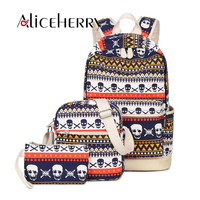 3 Pcs Set Women Backpack Canvas Printing Skull School Bags For Teenagers Girls Backpacks Cute Schoolbag