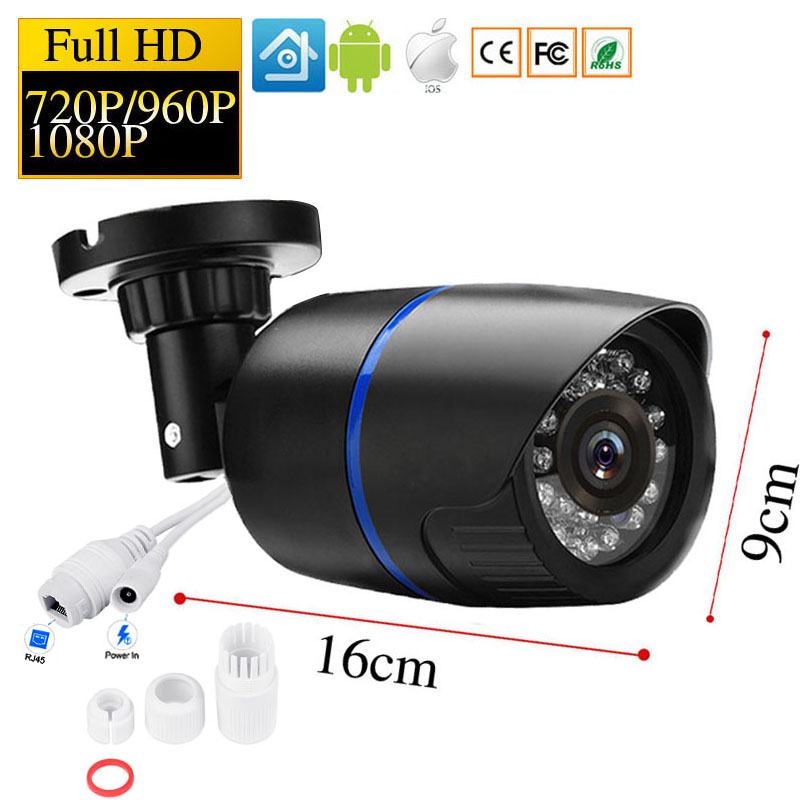 1080P HD IP Camera Security Indoor Outdoor Bullet CCTV POE Camera ONVIF Video Surveillance Cameras Night Vision P2P IP Cam 1080p hd cctv ip camera ip65 waterproof p2p onvif ir night vision security surveillance video mini bullet camera free shipping