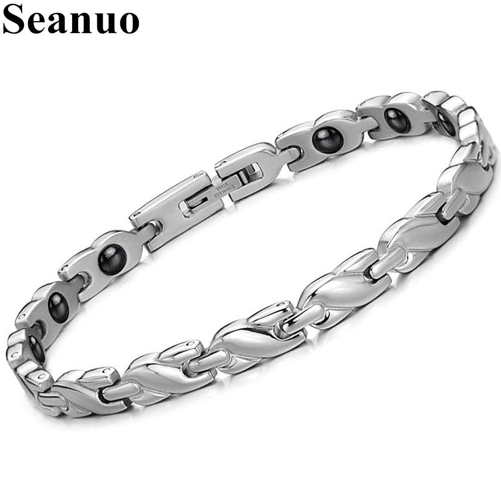 Seanuo Jewelry Woman Health Care Bracelet Healing Stainless Steel Magnet Stone Bracelets Chain Link Korea Style Men Bracelets
