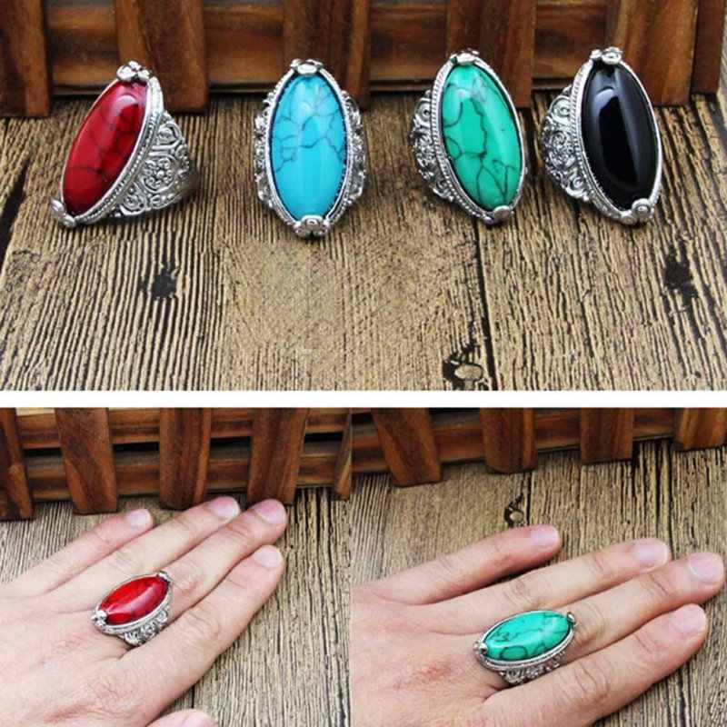 1ชิ้นใหม่ดอกไม้วงรีธรรมชาติแหวนหินสำหรับผู้หญิงวินเทจดูชุบเงินโบราณ5สีเครื่องประดับแฟชั่น
