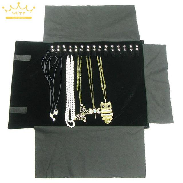 Classiaal Black Velvet Organizer Jewelry Display Rolls Travel