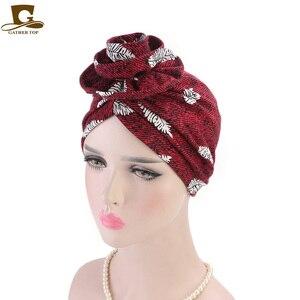 Image 4 - New fashion Elegante 3D Fiore Turbante Delle Donne Cancro Chemio Berretti Berretti Musulmano Turbante Hijab Partito Copricapi accessori per Capelli