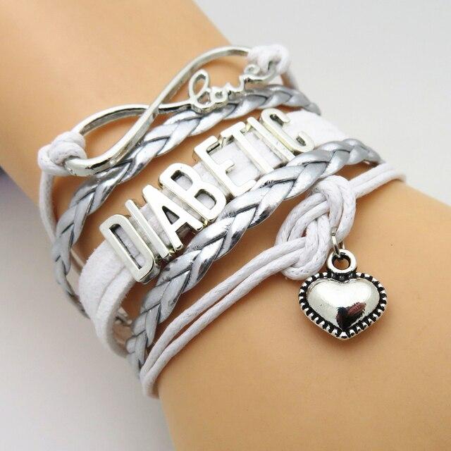 Sandei Fashion Infinity Love Heart Diabetic Bracelet Charms Bracelets Jewelry Friendship Gifts