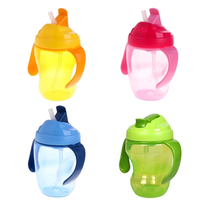 Children Baby Infant Leak Proof Cup Learn Drinking Straw Bottle Trainer 260ml