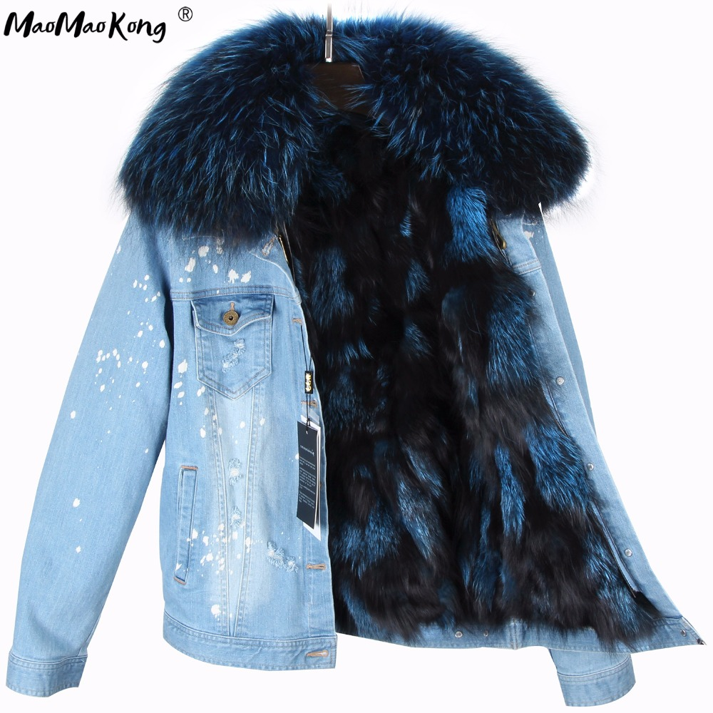 MAO MAO KONG 2017 Real Fox Fur Lining Denim Jacket Coat Parkas100 Large Raccoon Fur Collar