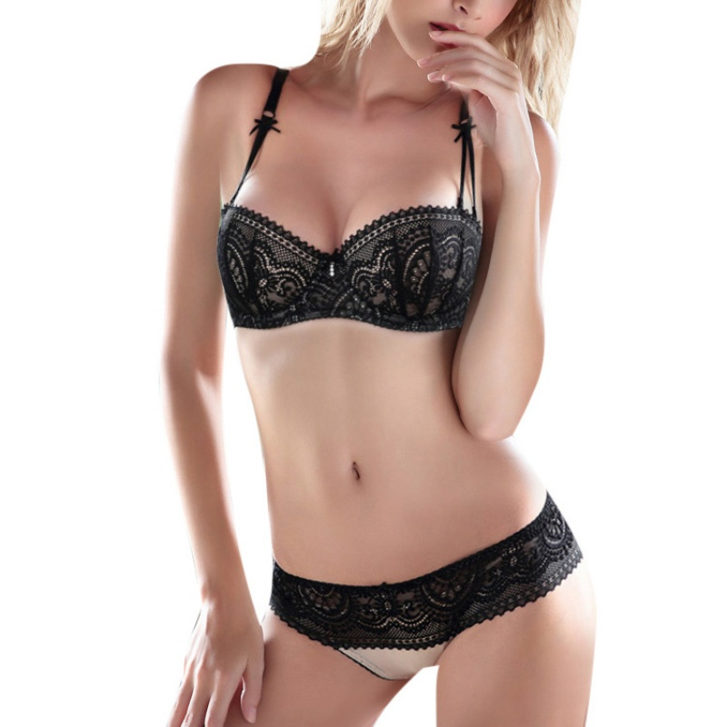 ROPALIA Half Cup Ultra-thin Lace Sexy Bras Ladies Bra Sets Women Embroidery Bowknot Sexy Push Up Underwear And Panty Bra Set