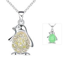 Fashion cute little penguin Glow Necklace Rhinestone Glow in Dark Pendant Gift Glowing Jewelry for girl women