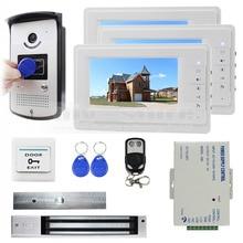 DIYSECUR 7 pulgadas Monitor Video de la Puerta Del Timbre Del Teléfono 700 Líneas de TV Cámara 280 kg Cerradura Magnética Keyfobs RFID 1v3