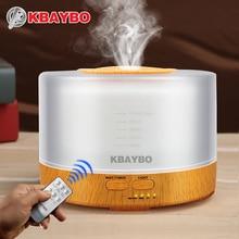 KBAYBO 500 ml Humidificador Ultrasónico led grano de madera clara Essential Aceite de aromaterapia Difusor fabricante de la niebla 24 V Control Remoto