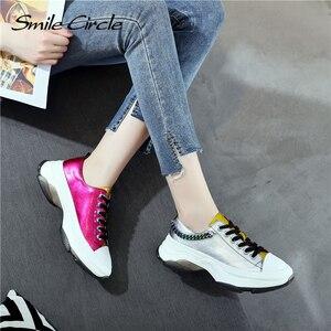 Image 4 - Sorriso círculo mulher tênis sapatos de plataforma plana para mulher fundo grosso moda cores misturadas sapatos casuais 2019 primavera