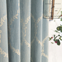 280cm Wide Cotton Linen Solid Blue Jacquard Blackout Drapery Fabric Budget Curtains Fabric Tablecloth DIY Craft