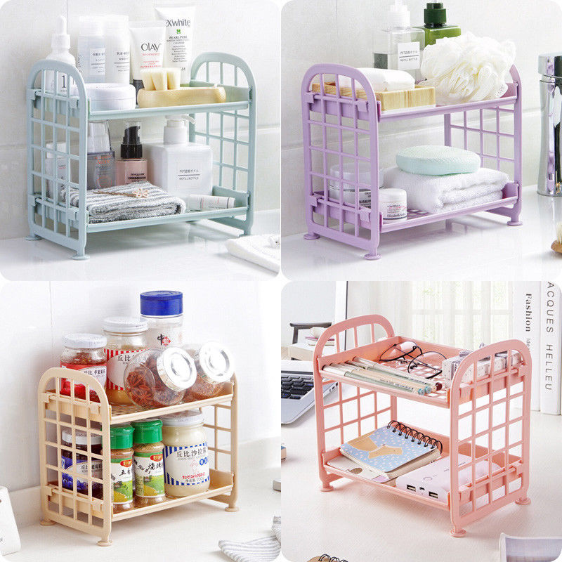 Bathroom:  2 Tier Storage Shelf Holder Plastic Rack Freestanding Durable Kitchen Bathroom Shelf Organiser Multi-function Storge Shelf - Martin's & Co