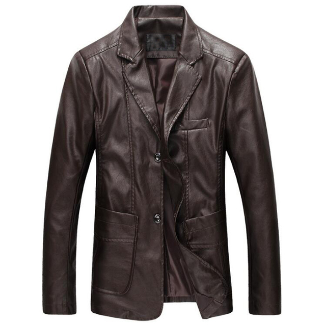 Official Mens Leather Jacket and Coat High Quality Mens Single Breasted New Brand Business Leather Blazer Men Plus Size 7XL C143