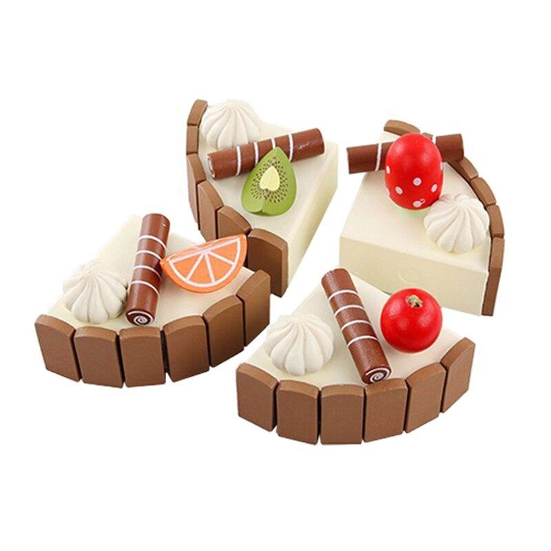 Деревянный Кухонные игрушки деревянный детский день рождения торт для девочек Игрушечные лошадки ребенка раннего образования пищевой Игр...