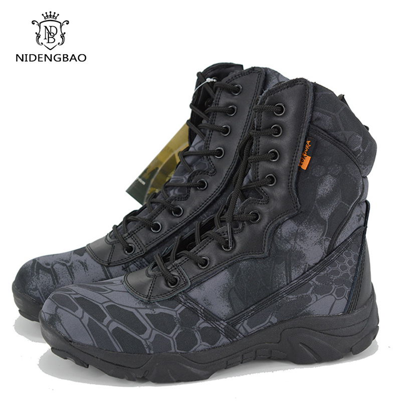 Camouflage Military Boots Men Shoes Oxford Cloth High-fight Combat Boots Autumn Ankle Botas Hombre Army Work Shoes Plus Size 45