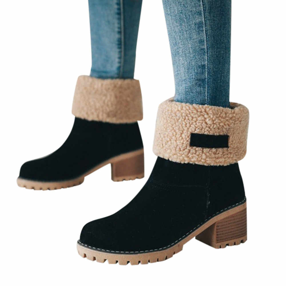 warm wool Boots women Female Ankle Boot Martin shoes  High Heels Female Fashion Plus Size