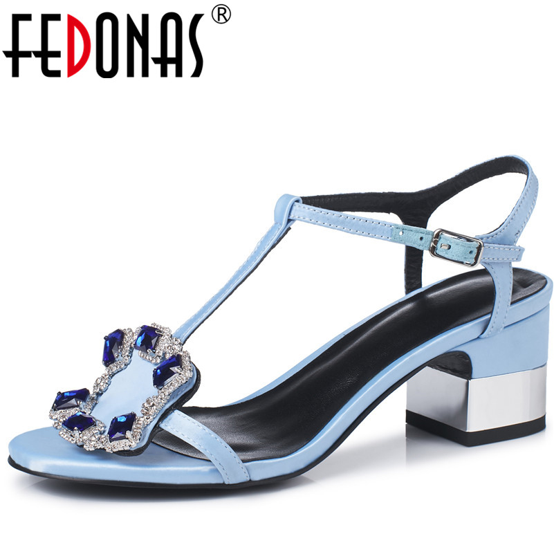 FEDONAS1New Arrival Women Ankle Strap Sandals Summer High Heels Shoes Woman Rhinestone Party Prom Silk Luxury