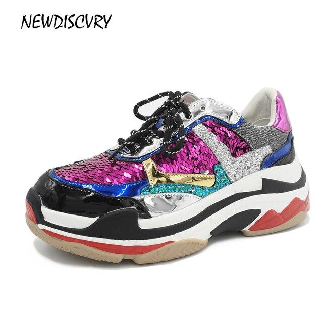 Новинка 2018 г. женские блестящие кроссовки на платформе модная женская обувь на не сужающемся книзу массивном каблуке женская Тройная подошва металлические блестки шикарная обувь