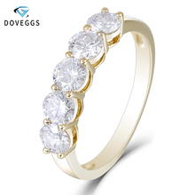 DovEggs Classic 14K 585 Yellow Gold 1.25CTW 4mm FG Color Moissanite Half Eternity Wedding Band for Women Gift Ring