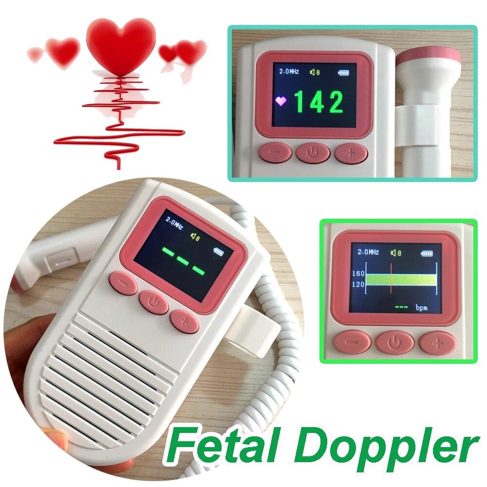 Ultrasonic Fetal Doppler Baby Fetal Heart Rate Monitor 2.0Mhz Probe with FHR Scale