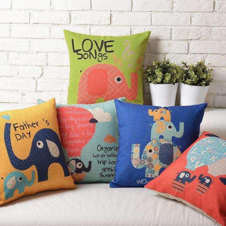Cute Cartoon  Retro Style Happy Elephant Linen Cotton Cushion Linen Pillow   Home Decorate Sofa Cushions