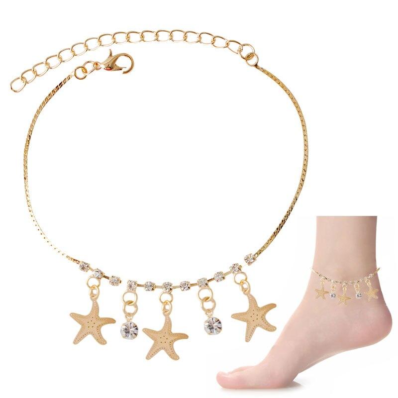 F&u Best Selling 2016 Sexy Women Love Ankle Chain Anklet Foot Fashion Sea Star Braceletjewelry Beach Girl Lady Sandal Anklets Durable Modeling