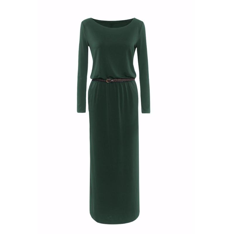 Elegant Women Autumn Dress Round Collar Pocket Solid Color Long Sleeve Loose Long Dresses with Belt Office Party Casual Spring