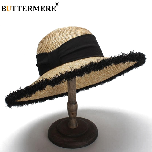 BUTTERMERE Women Sun Hats Beige Casual Straw Hat Female Wide Brim Anti-UV Ladies Summer Travel Sombreros Beach Caps Fashion 2018 2