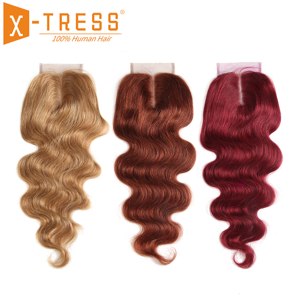 Blonde Brown Color 27# Brazilian Body Wave Hair Lace Closure 4x4 Free/Middle Part X-TRESS Non-Remy Human Hair Closure 8-20inch