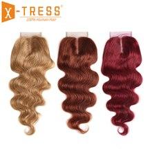Cabello rubio Castaño, 27 ° cabello brasileño ondulado, cierre de encaje 4x4 libre/mitad de la parte X TRESS, cabello humano no Remy, cierre de 8 20 pulgadas
