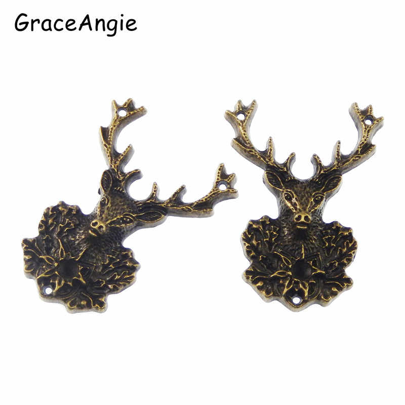 3pcs Antique Bronze Tone Deer Charms Necklace Pendant Jewelry Accessories Making Man Women Retro Style Jewelry 51*38*7mm 50703