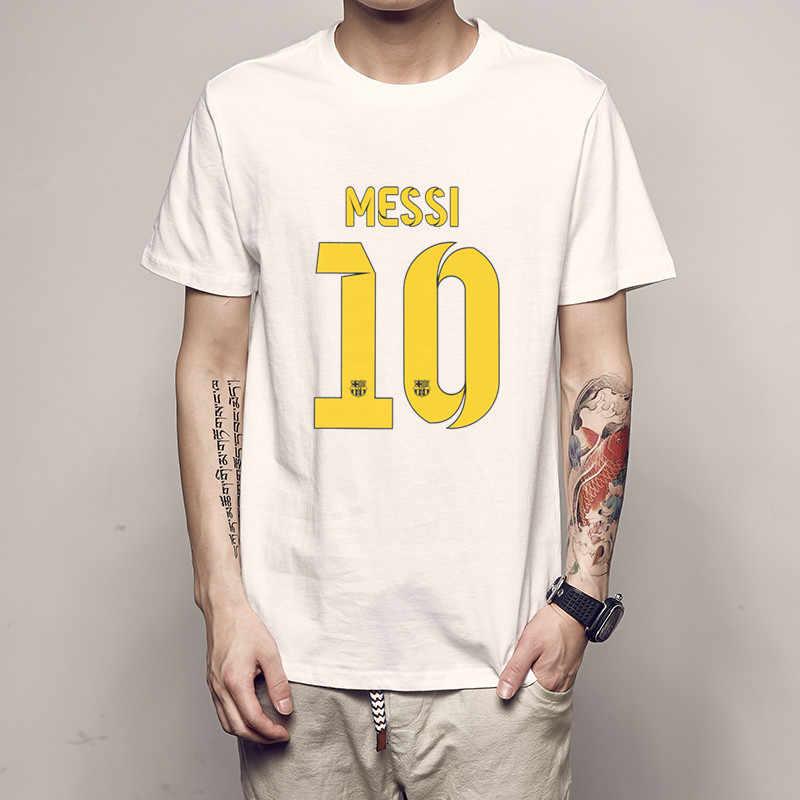 278377476 ... ajax 2018 2019 summer Black cotton Barcelona MESSI Men t-shirt tops Man  casual short ...